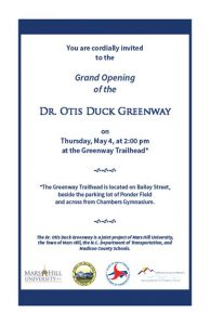 Grand Opening - Dr. Otis Duck Greenway @ Greenway Trailhead | Mars Hill | North Carolina | United States