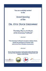 Grand Opening - Dr. Otis Duck Greenway @ Greenway Trailhead | Mars Hill | North Carolina | United States
