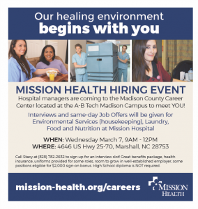 Mission Health Hiring Event @ A-B Tech Madison Campus | Marshall | North Carolina | United States
